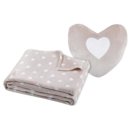 Souprava deky a polštářku SRDCE béžová