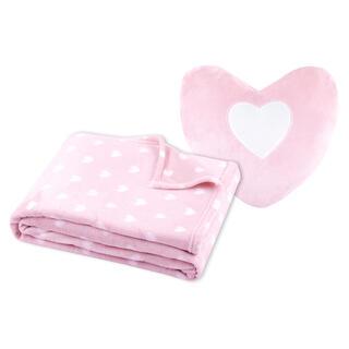 Souprava deky a polštářku SRDCE růžová