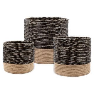 Sada 3 košíků z mořské trávy VANUA černá
