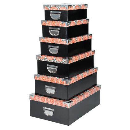 Sada 6 ks krabic BOITES mandala černé