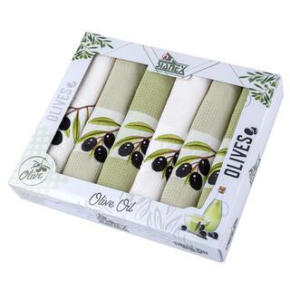 Vaflové bavlněné utěrky OLIVY 6 ks