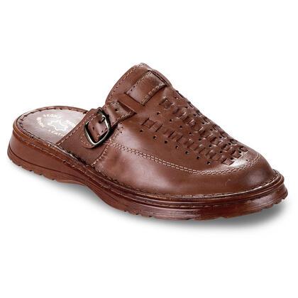 Pánské celokožené pantofle hnědé