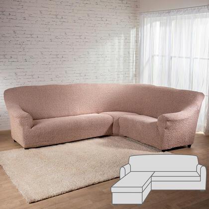 Bielastické potahyMEDITERRANEO béžové, sedačka s otomanem vlevo (š. 170 - 200 cm)
