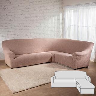 Bielastické potahyMEDITERRANEO béžové, sedačka s otomanem vpravo (š. 170 - 200 cm)