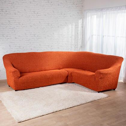 Bielastické potahyMEDITERRANEO cihlové, rohová sedačka (š. 350 - 530 cm)
