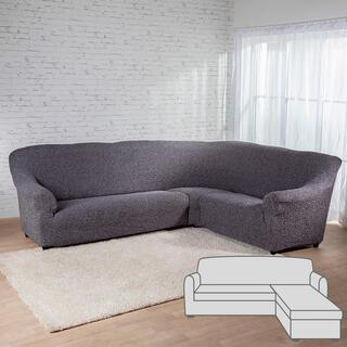Bielastické potahyMEDITERRANEO šedé, sedačka s otomanem vpravo (š. 170 - 200 cm)
