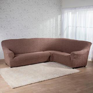 Bielastické potahyMEDITERRANEO hnědé rohová sedačka (š. 350 - 530 cm)