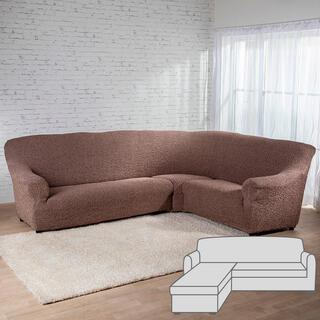 Bielastické potahyMEDITERRANEO hnědé sedačka s otomanem vlevo (š. 170 - 200 cm)