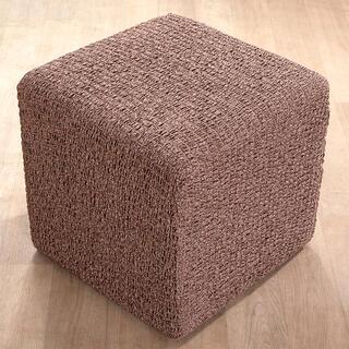 Bielastické potahyMEDITERRANEO hnědé, taburet ( 40 x 40 x 40 cm)
