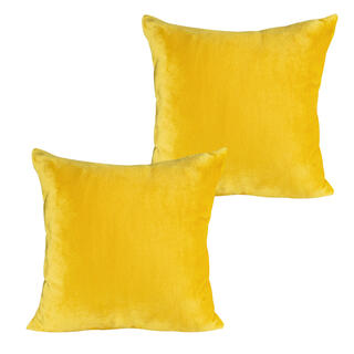 Povlaky na polštářky z mikroflanelu hořčicové 2 ks