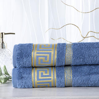 Sada 2 kusů bambusových ručníků ROMA modrá 50 x 100 cm