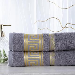 Sada 2 kusů bambusových ručníků ROMA tmavě šedá 50 x 100 cm