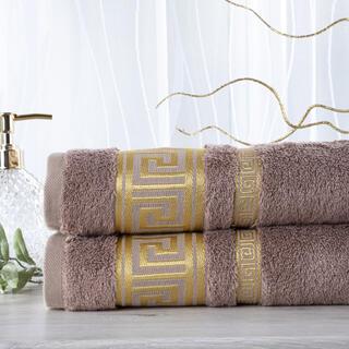 Sada 2 kusů bambusových ručníků ROMA světle hnědá 50 x 100 cm