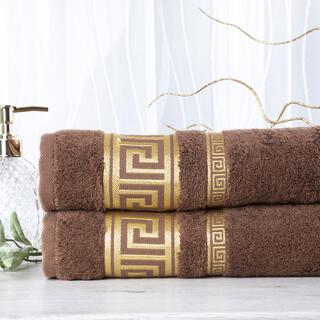 Sada 2 kusů bambusových ručníků ROMA tmavě hnědá 50 x 100 cm