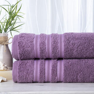 Sada 2 kusů froté ručníků FIRUZE tmavě fialová 50 x 100 cm
