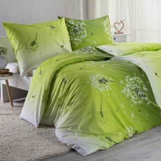 Bavlněné ložní povlečení  DANDELION zelené, prodloužená délka