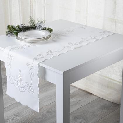 Vánoční ubrus běhoun Bílý stromeček 35 x 160 cm