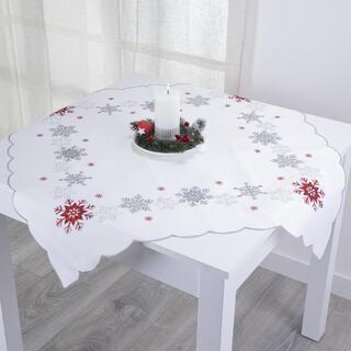 Vánoční ubrus ČERVENÉ A STŘÍBRNÉ VLOČKY 85 x 85 cm