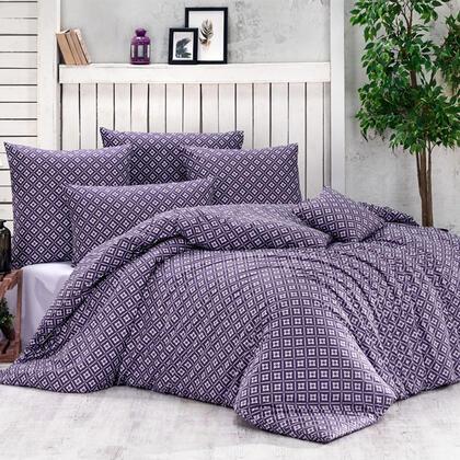 Bavlněné renforcé ložní povlečení BRYNJAR fialové, francouzská postel