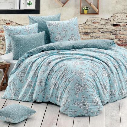 Bavlněné renforcé ložní povlečení ESTELITA tyrkysové, francouzská postel