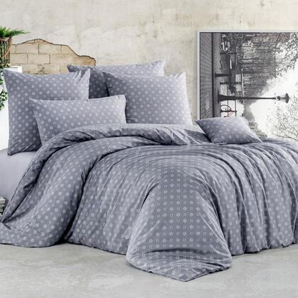 Bavlněné renforcé ložní povlečení GUDRUN šedé, francouzská postel