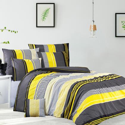 Bavlněné renforcé ložní povlečení ZIGO žluté, francouzská postel