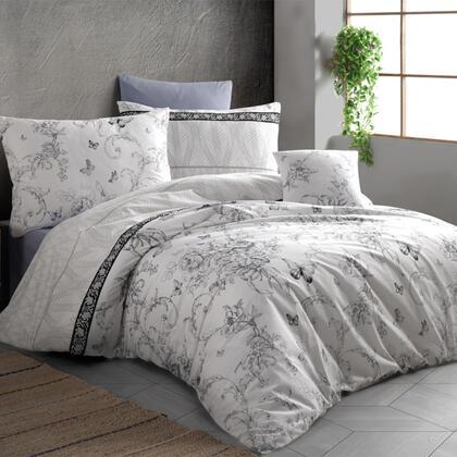 Bavlněné renforcé ložní povlečení ALEGRA šedé, francouzská postel