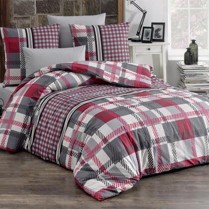 Bavlněné renforcé ložní povlečení HECTOR červené, francouzská postel