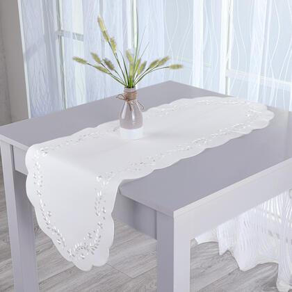 Běhoun s výšivkou bílá 40 x 110 cm