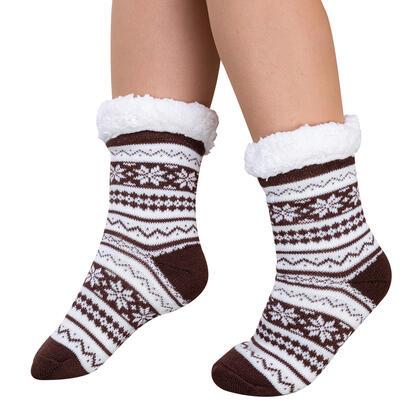 Ponožky na spaní BERIT hnědé, vel. 39 - 41