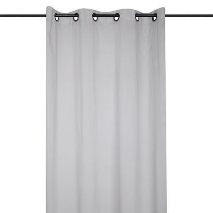 Dekorační bavlněný závěs AUBE světle šedý 140 x 260 cm, sada 2 ks