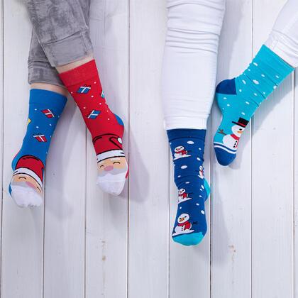Veselé ponožky SNĚHULÁK + MIKULÁŠ sada 2 párů