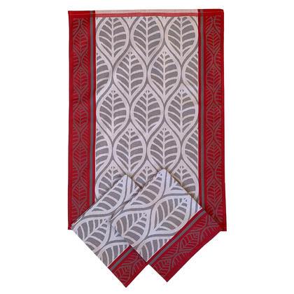 Utěrky  z egyptské bavlny ČERVENÉ LISTY 50 x 70 cm 3 ks