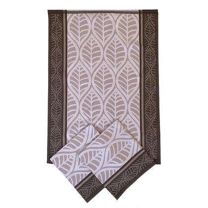 Utěrky  z egyptské bavlny HNĚDÉ LISTY 50 x 70 cm 3 ks
