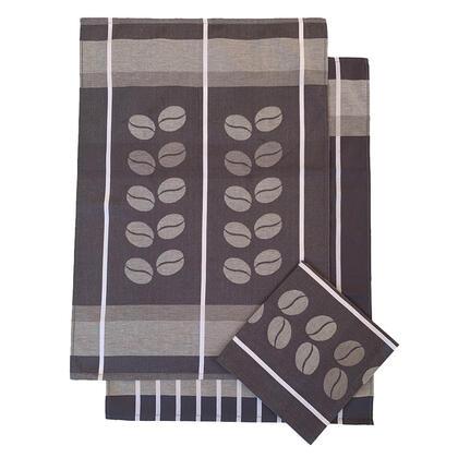 Utěrky  z egyptské bavlny HNĚDÉ KÁVA 50 x 70 cm 3 ks