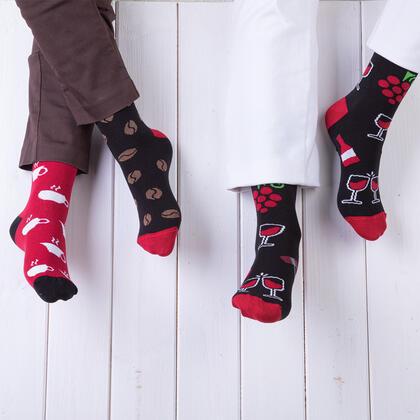 Veselé ponožky KÁVA + VÍNO sada 2 párů