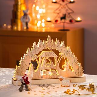 Svítící dřevěný Betlém