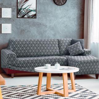 Monoelastické potahy ZUMA černobílé, sedačka s otomanem vpravo (š. 210 - 270 cm)