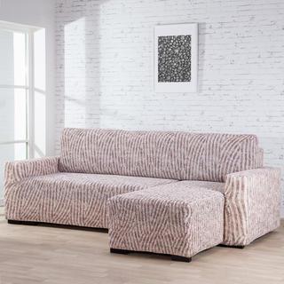 Bielastické potahy ROCCIA béžové sedačka s otomanem vpravo (š. 170 - 200 cm)