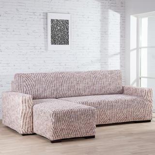 Bielastické potahy ROCCIA béžové sedačka s otomanem vlevo (š. 170 - 200 cm)