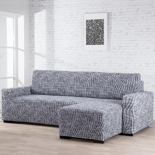 Bielastické potahy ROCCIA šedé sedačka s otomanem vpravo (š. 170 - 200 cm)