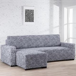 Bielastické potahy ROCCIA šedé sedačka s otomanem vlevo (š. 170 - 200 cm)