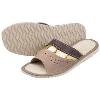 Dámské kožené pantofle se zlatým proužkem