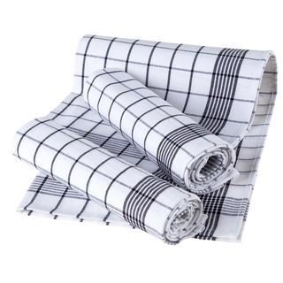 Kuchyňské utěrky z egyptské bavlny KÁRO bílé 50 x 70 cm 3 ks