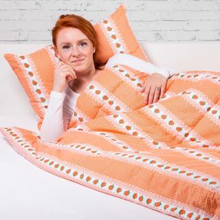Souprava letní přikrývky 140 x 200 cm a polštáře 40 x 60 cm BARUNKA oranžová