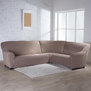 Bielastické potahy BUKLÉ oříšková, rohová sedačka (š. 350 - 530 cm)