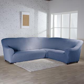 Bielastické potahy BUKLÉ denimová, rohová sedačka (š. 350 - 530 cm)