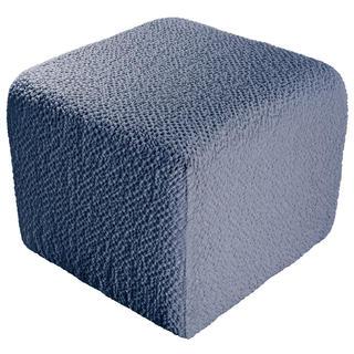 Bielastické potahy BUKLÉ denimová, taburet (40 x 40 x 40 cm)