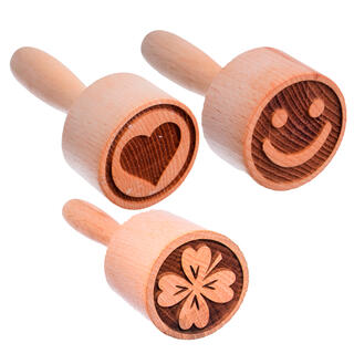 Sada 3 kusů dřevěných razítek na sušenky