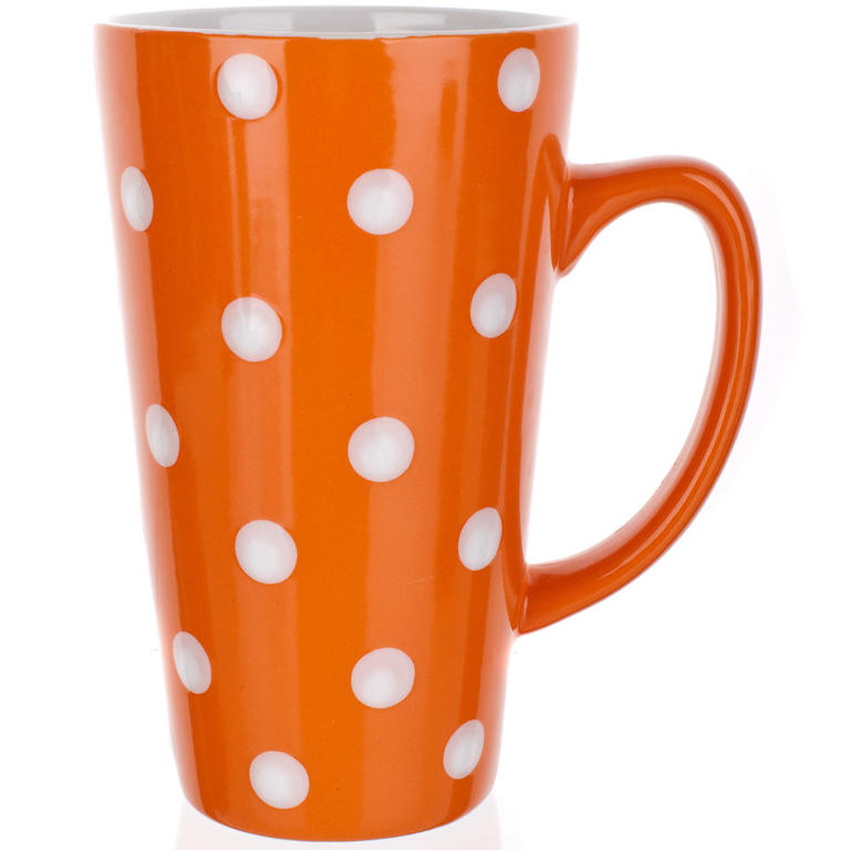 Keramický hrnek vysoký 450 ml oranžový s puntíky, BANQUET